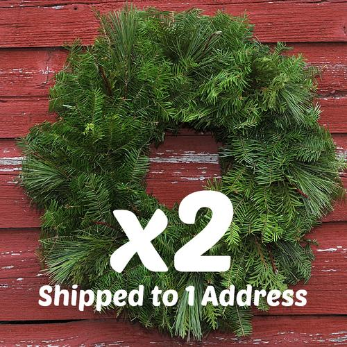Mixed Greens Wreaths w/ Dogwood Twigs - 18 inch  ($28.00 each with this deal)